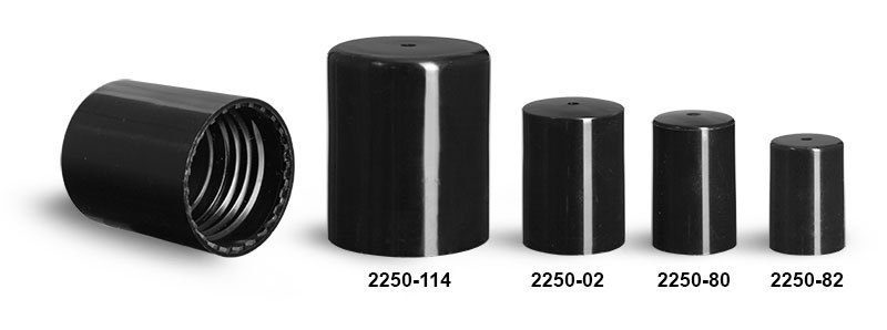 Plastic Caps, Flat Black Polypropylene Caps For Roll On Containers