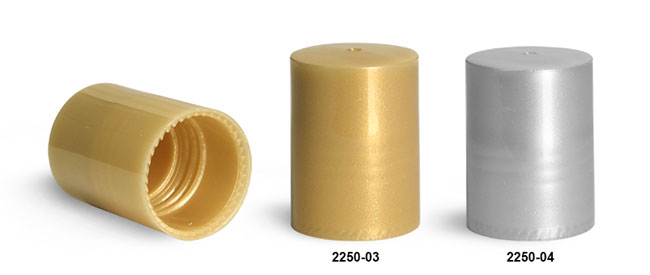 Plastic Caps, Gold and Silver Polypropylene Caps For 0.35 oz Roll On Containers