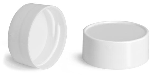 Plastic Caps, White Smooth Plastic Unlined Caps