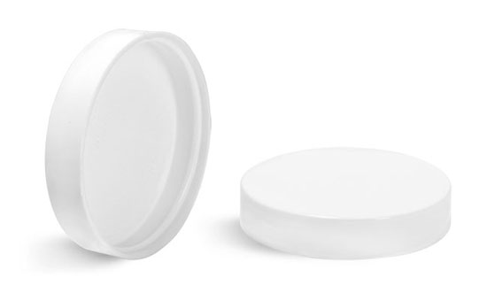Plastic Caps, White Smooth Plastic Unlined Caps