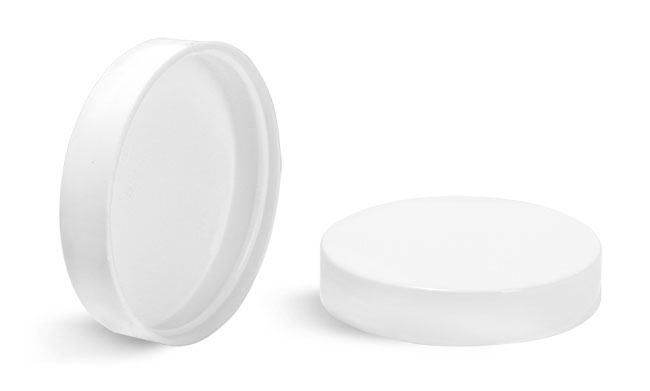 70/400  Plastic Caps, White Polypropylene Smooth Plastic Unlined Caps