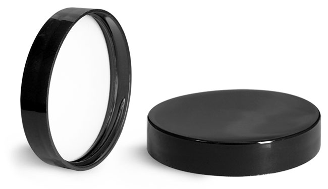 Plastic Caps, Black Polypropylene Smooth Lined Caps