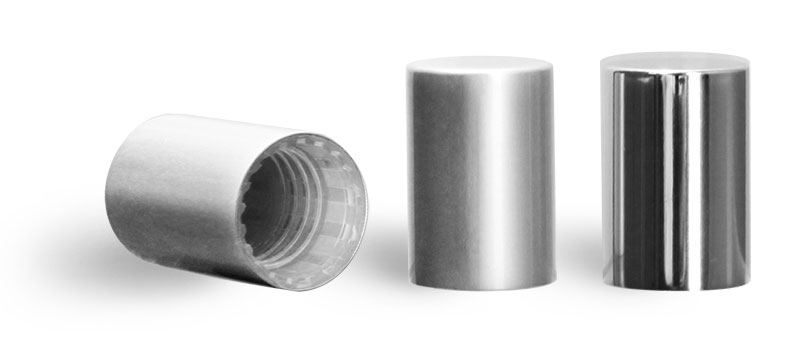 Plastic Caps, Silver Polypropylene Caps for Glass Roll On Containers