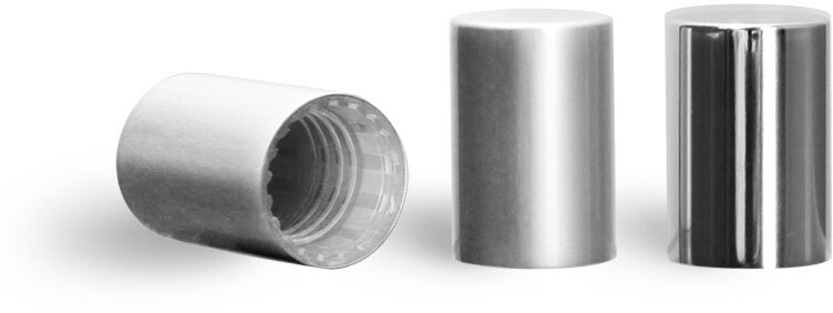 Plastic Caps, Matte Silver Polypro Caps for Glass Roll On Containers