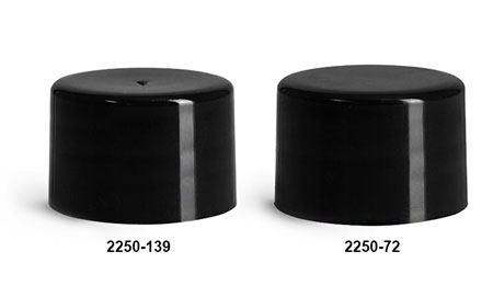 Plastic Caps, Black Polypropylene Smooth F217 Lined Caps