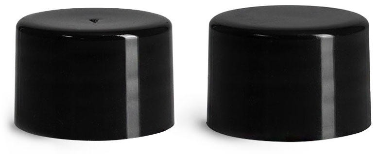 24/410 Plastic Caps, Black Smooth Polypropylene F217 Lined Caps