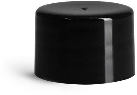 Plastic Caps, Black Polypropylene Smooth PE Lined Caps