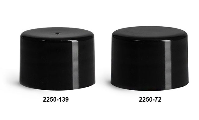 Black Polypropylene Smooth Lined Caps