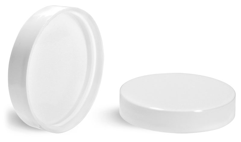 Plastic Caps, White Polypropylene Smooth PE Lined Caps