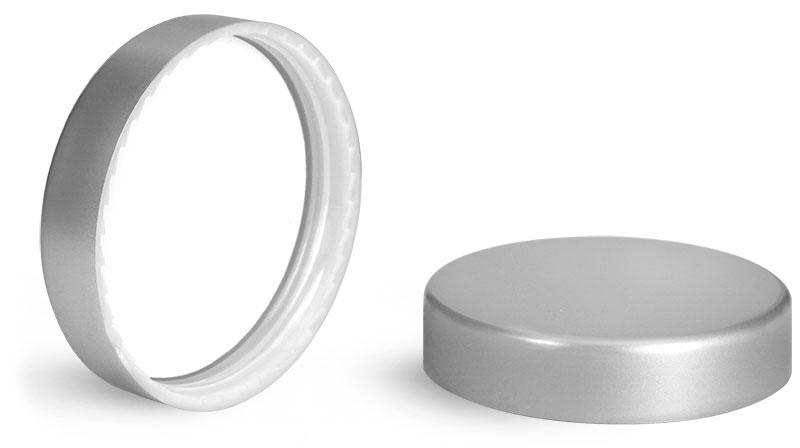 Plastic Caps, Silver Matte PE Lined Caps