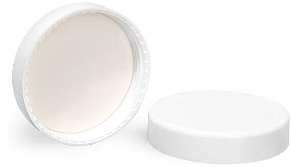 Plastic Caps, White Smooth PE Lined Caps
