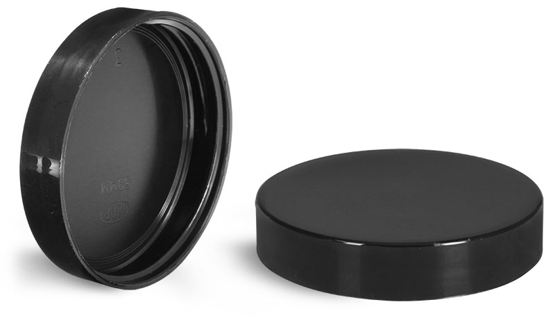 70/400 Plastic Caps, Black Polypropylene Plastic Smooth Unlined Caps