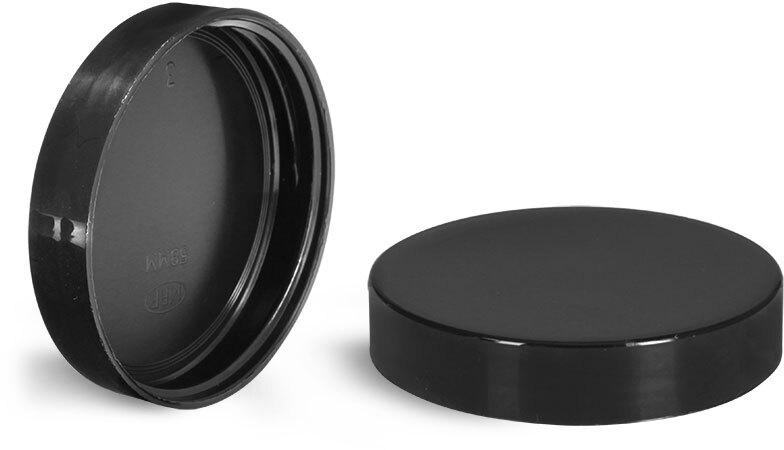Plastic Caps, Black Plastic Smooth Unlined Caps