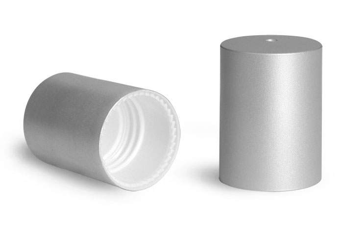 Plastic Caps, Brushed Aluminum Polypropylene Caps for 0.35 oz Roll On Containers