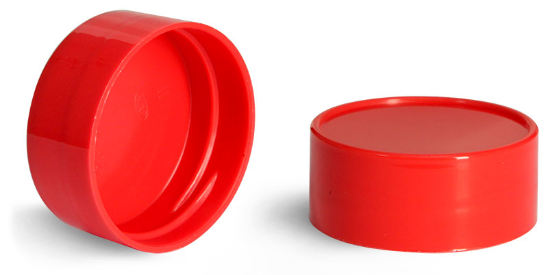 43/485  Red Plastic Smooth Unlined Caps
