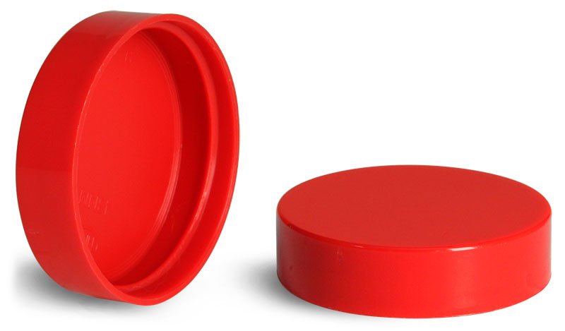 43/400 Red Plastic Smooth Unlined Caps