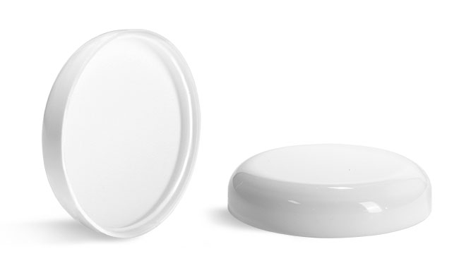 Plastic Caps, White Polypropylene Smooth Lined Dome Caps