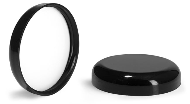Plastic Caps, Black Polypropylene Smooth Lined Dome Caps