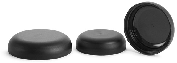 70/400 Plastic Caps, Frosted Black Polypropylene (PIR) Unlined Dome Caps