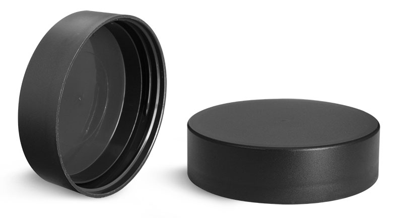 Plastic Caps, Frosted Black Polypropylene (PIR) Deep Skirted Unlined Caps