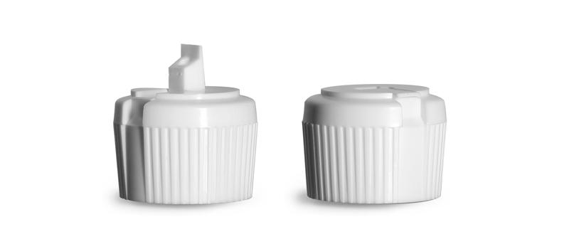 Dispensing Caps, White LDPE Plastic Flip Top Spout Caps