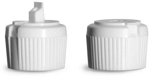 28/410 White LDPE Plastic Flip Top Spout Caps, 3.0 mm Orifice