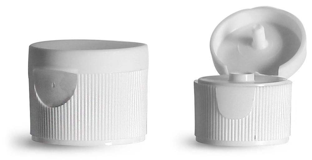 20/410 Dispensing Caps, White Ribbed Snap Top Caps