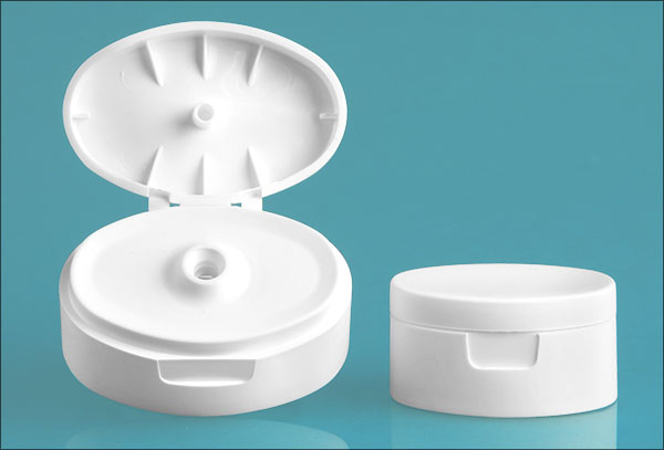 Dispensing Caps, White Plastic Snap Top Caps