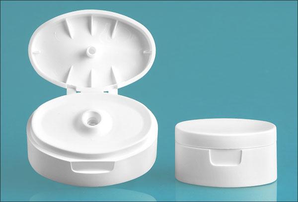 Dispensing Caps, White Plastic Snap Top Caps