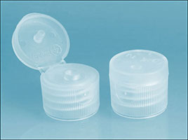 Dispensing Caps, Natural Polypropylene Ribbed Snap Top Caps