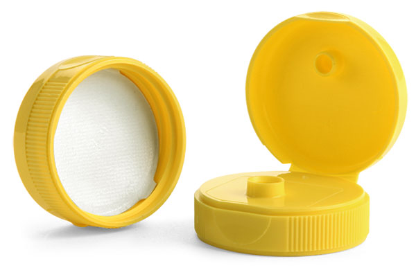 Dispensing Caps, Yellow Polypropylene Ribbed Snap Top Caps w/ Peelable Liners