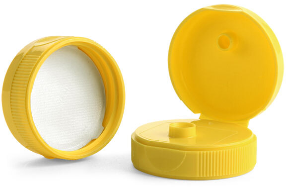 Yellow PP Ribbed Snap-Top Caps w/ Peelable Liners