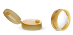 Gold Polypropylene Ribbed Snap Top Caps w/ Peelable Liners