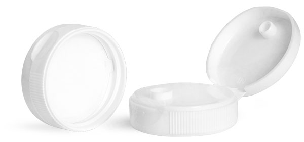 Dispensing Caps, White Polypropylene Ribbed Snap Top Caps w/ Peelable Liners