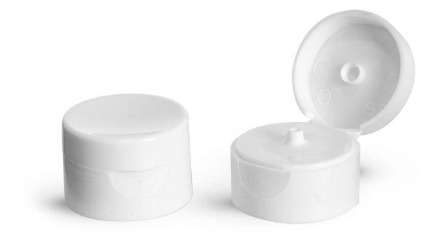 Dispensing Caps, White Smooth Snap Top Caps