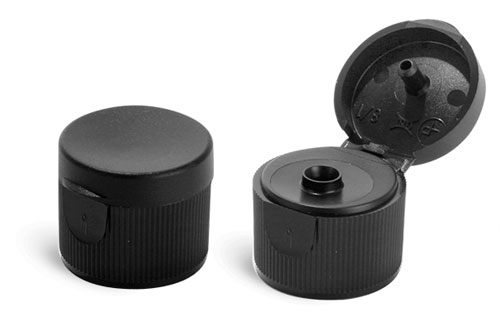 Dispensing Caps, Black Polypropylene Ribbed Snap Top Caps