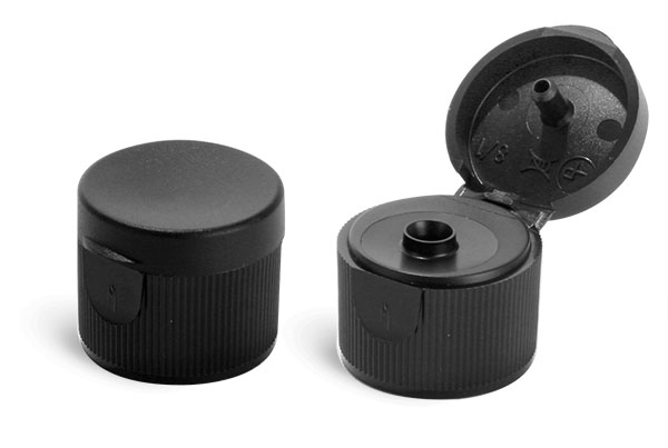 Dispensing Caps, Black Ribbed Snap Top Caps