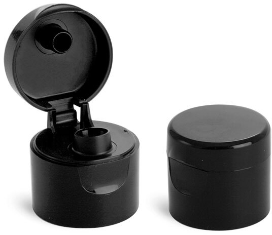 Dispensing Caps, Black Smooth Snap Top Caps
