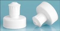Dispensing Caps, White Polypropylene Pull / Push Caps w/ White PE Spouts