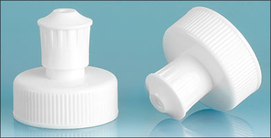 Dispensing Caps, White Polypropylene Pull / Push Caps w/ White PE Spouts