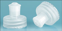 Dispensing Caps, Natural Polypropylene Pull / Push Caps w/ Natural PE Spouts