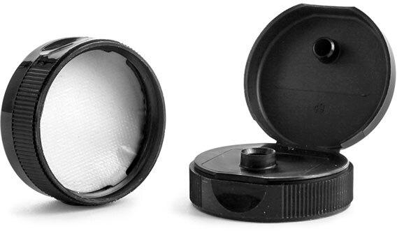 Dispensing Caps, Black Polypropylene Ribbed Snap Top Caps w/ Peelable Liners