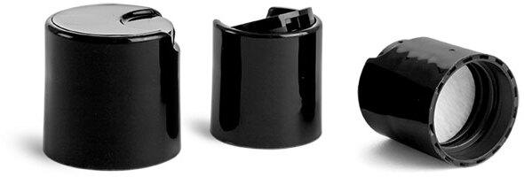 Dispensing Caps, Black Disc Top Caps w/ PS22 Liners