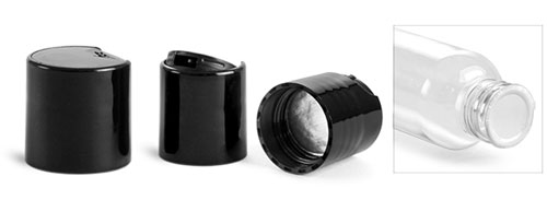 Dispensing Caps, Black Polypropylene Disc Top Caps w/ Foam Induction Liners