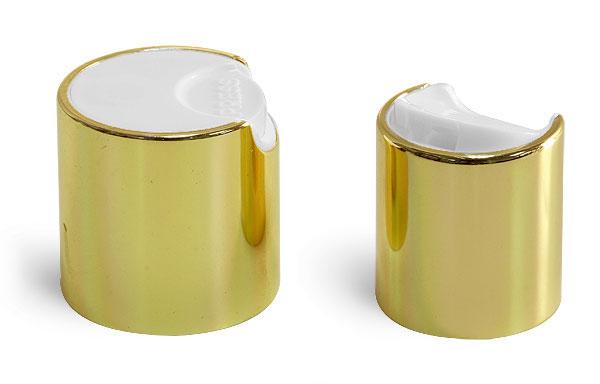 Dispensing Caps, Gold Metalized Disc Top Caps