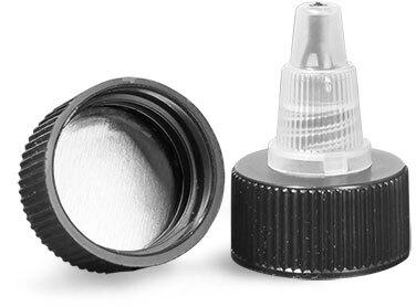 Dispensing Caps, Black/Natural Universal Induction Lined Twist Top Caps