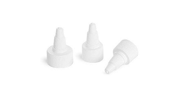 Dispensing Caps, White Twist Top Caps
