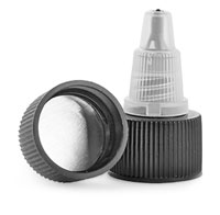 Dispensing Caps, Black/Natural LDPE Induction Lined Twist Top Caps