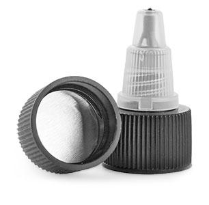 20/410 Dispensing Caps, Black/Natural Induction Lined Twist Top Caps