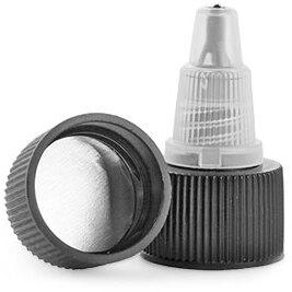 Dispensing Caps, Black/Natural Induction Lined Twist Top Caps